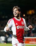 Nederland, Almelo, 20 oktober 2012.Eredivisie .Seizoen 2012-2013.Heracles-Ajax.Lasse Schone juicht nadat Ben Rienstra een eigen doelpunt heeft gemaakt, de 0-1.