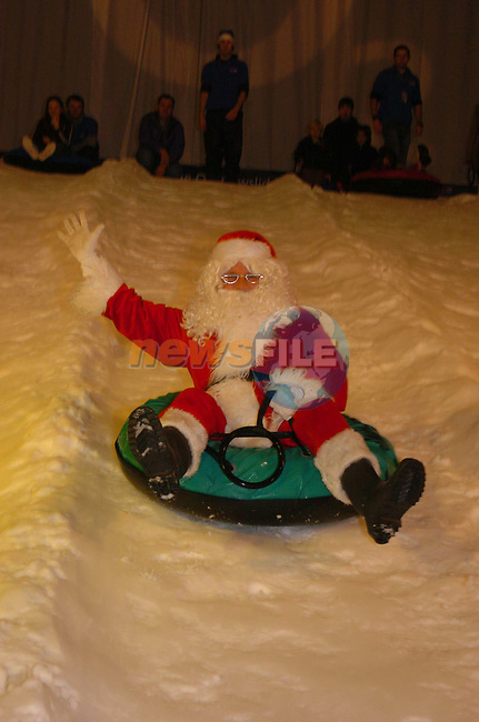 And were off Santa arrived sliding down the slide at Santas kingdom in punchestown.Picture Fran Caffrey Newsfile..Supplied by Santas Kingdom.NO REPO FEE