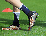 England's  Jamie Vardy wearing camouflage boots during training at the Tottenham Hotspur Training Centre.  Photo credit should read: David Klein/Sportimage
