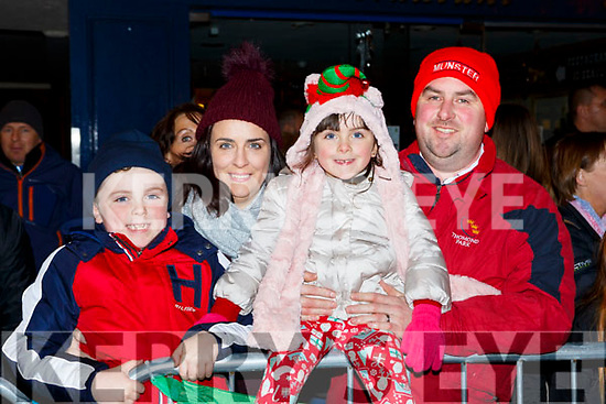 Dylan, Sharon, Ella and Con Ambrose  at the Kiilarney Christmas parade on Saturday night