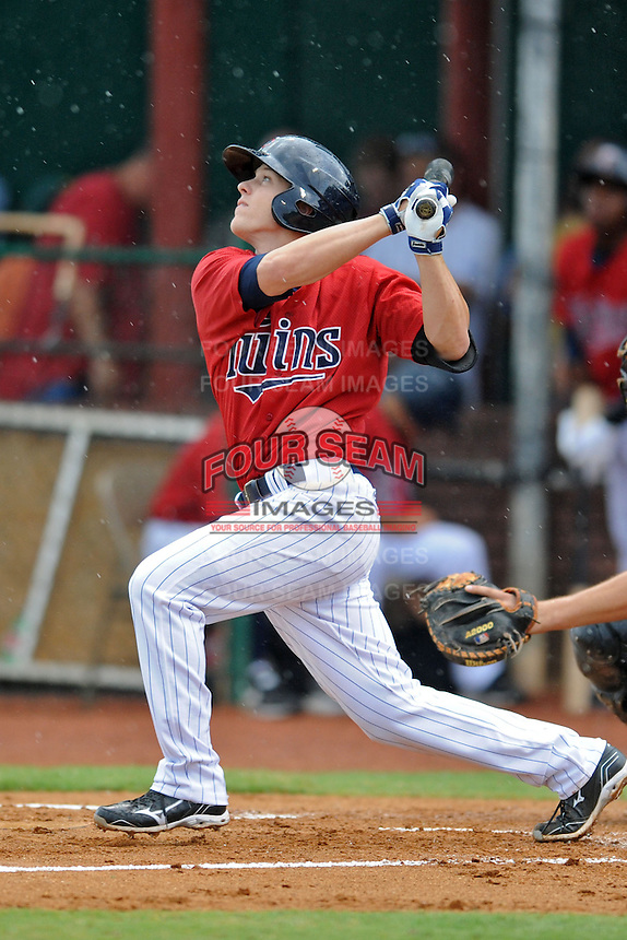 Elizabethton Twins second baseman Tanner Vavra #9 swings at a pitch during a game against the Bristol White Sox at Joe O'Brien Field on June 20, 2013 in Elizabethton, Tennessee. The Twins won the game 3-0. (Tony Farlow/Four Seam Images)