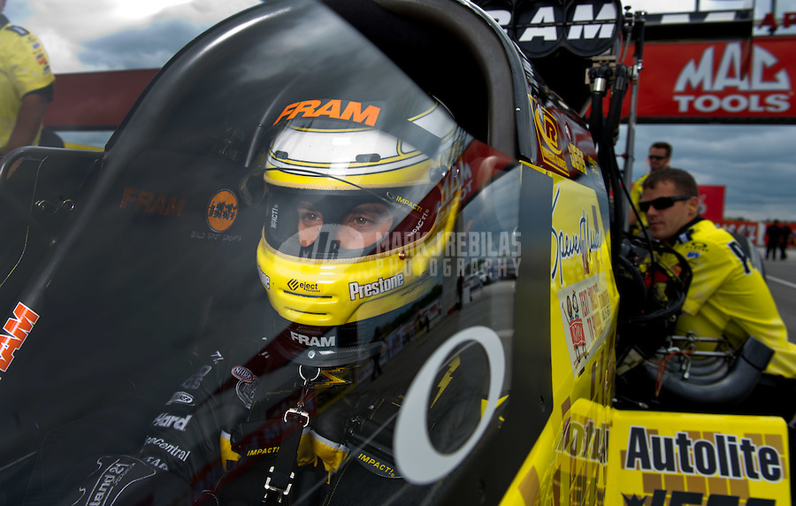 Sept. 4, 2011; Claremont, IN, USA: NHRA top fuel dragster driver Spencer Massey during qualifying for the US Nationals at Lucas Oil Raceway. Mandatory Credit: Mark J. Rebilas-