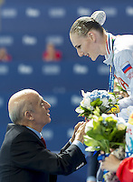 (L to R)  Julio C. Maglione FINA President; ROMASHINA Svetlana RUS Gold<br /> Kazan Arena Synchro Sincro Solo Technical Final<br /> Day02 25/07/2015<br /> XVI FINA World Championships Aquatics Swimming<br /> Kazan Tatarstan RUS July 24 - Aug. 9 2015 <br /> Photo G.Scala/Deepbluemedia/Insidefoto