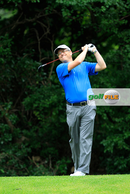 Paul Sullivan (Roganstown) on the 8th tee during round 2 of the Leinster Mid Amateur Open Championship in Grange Golf Club on Friday 8th August 2014.<br /> Picture:  Thos Caffrey / www.golffile.ie