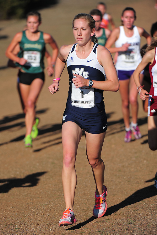 October 29, 2011; Belmont, CA, USA; BYU Cougars runner Katy Andrews (1) competes during the WCC Cross Country Championships at Crystal Springs.