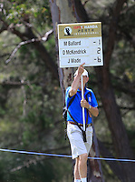 A score board during Round 1 of the ISPS HANDA Perth International at the Lake Karrinyup Country Club on Thursday 23rd October 2014.<br /> Picture:  Thos Caffrey / www.golffile.ie