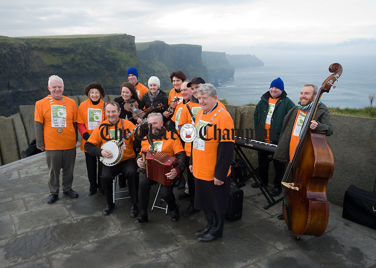 The Kilfenora Ceili Band  at the Cliffs of Moher during the launch of European Week for Waste Reduction (EWRR) 2010. Photograph by John Kelly..