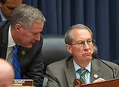 "United States Representative Mark Meadows (Republican of North Carolina), left, and US Representative Bob Goodlatte (Republican of Virginia), Chairman, US House Committee on the Judiciary, right, discuss the Democrats request to release the closed-door transcript of FBI Deputy Assistant Director Peter Strzok as testifies during a joint hearing of the Judiciary and the US House Committee on Oversight and Government Reform on ""Oversight of FBI and DOJ Actions Surrounding the 2016 Election"" on Capitol Hill in Washington, DC on Thursday, July 12, 2018. <br /> Credit: Ron Sachs / CNP<br /> (RESTRICTION: NO New York or New Jersey Newspapers or newspapers within a 75 mile radius of New York City)"