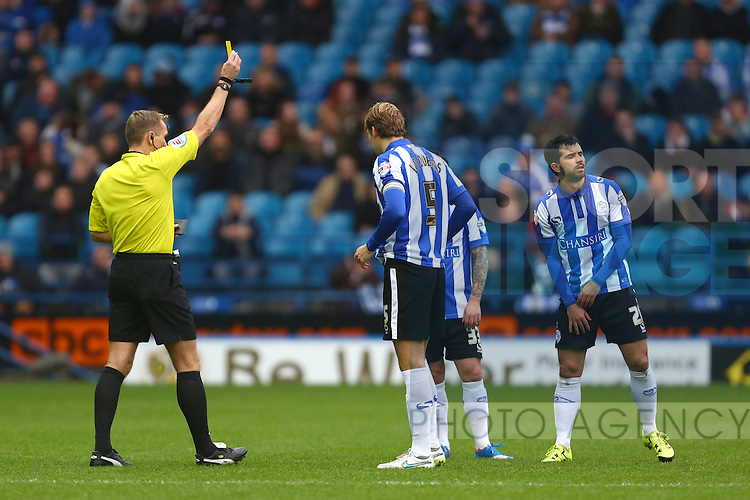 Wednesday's Alex Lopez is shown a yellow card - Sheffield Wednesday vs Derby County - Skybet Championship - Hillsborough - Sheffield - 06/12/2015 Pic Philip Oldham/SportImage