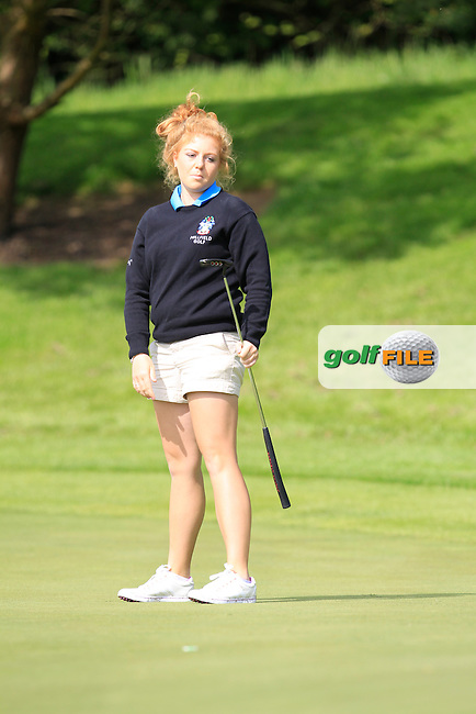 Sophie Keech (ENG) on the 6th green during Round 1 of the Irish Women's Open Strokeplay Championship at Dun Laoghaire Golf Club on Saturday 23rd May 2015.<br /> Picture:  Thos Caffrey / www.golffile.ie