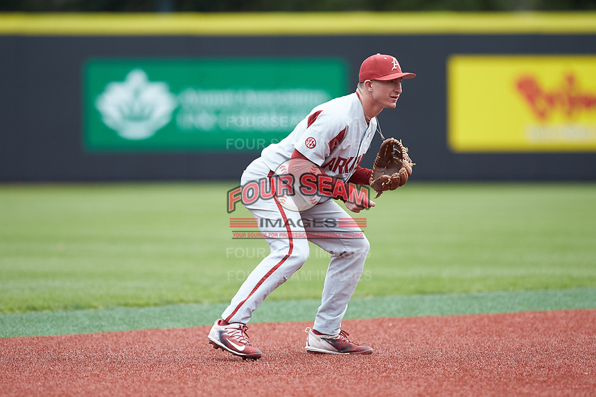 Arkansas Razorbacks shortstop Jax Biggers (9) on defense against the Charlotte 49ers at Hayes Stadium on March 21, 2018 in Charlotte, North Carolina.  The 49ers defeated the Razorbacks 6-3.  (Brian Westerholt/Four Seam Images)