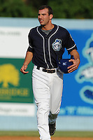 Asheville Tourists designated hitter Joe Altobelli #7 between innings during a game against the Rome Braves at McCormick Field on August 20, 2011 in Asheville, North Carolina. Rome won the game 10-9.   (Tony Farlow/Four Seam Images)