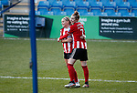 Olivia Ferguson of Sheffield Utd celebrates he goal with Jade Pennock during the The FA Women's Championship match at the Proact Stadium, Chesterfield. Picture date: 8th December 2019. Picture credit should read: Simon Bellis/Sportimage