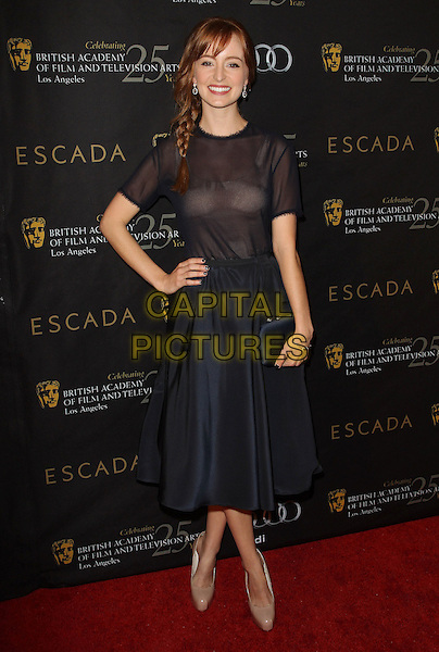 Ahna O'Reilly.18th Annual BAFTA Los Angeles Awards Season Tea Party held at the Four Seasons Hotel, Beverly Hills, California, USA..January 14th, 2012.full length black sheer braid plait hair sheer top skirt hand on hip.CAP/ADM/KB.©Kevan Brooks/AdMedia/Capital Pictures.