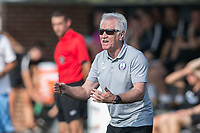 Allston, MA - Saturday August 19, 2017: Orlando Pride coach Tom Sermanni during a regular season National Women's Soccer League (NWSL) match between the Boston Breakers and the Orlando Pride at Jordan Field.