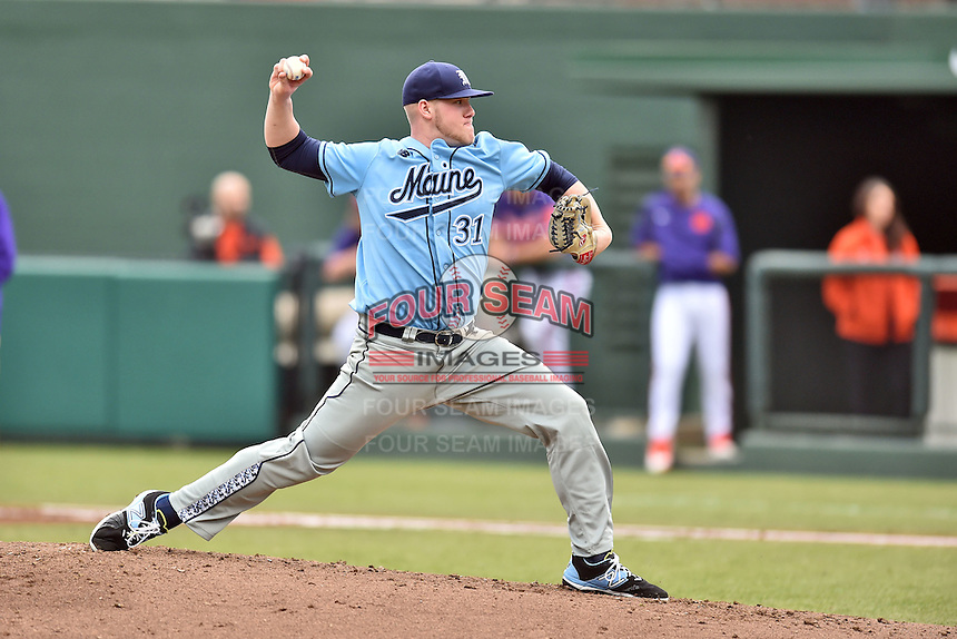 Main Black Bears starting pitcher Chris Murphy (31) delivers a pitch during a game against the Clemson Tigers at Doug Kingsmore Stadium on February 20, 2016 in Clemson, South Carolina. The Tigers defeated the Black Bears 9-4. (Tony Farlow/Four Seam Images)