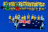 2nd February 2020; Sydney Olympic Park, Sydney, New South Wales, Australia; International FIH Field Hockey, Australia versus Great Britain; Australia during their national anthem
