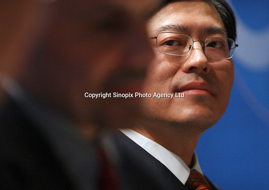 Yang Yuanqing, Chairman of Lenovo, speaks at the Forbe's Businessmen of the Year press conference in Shanghai, China.<br /> photo by Qilai Shen / Sinopix