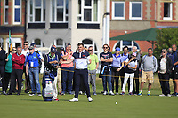 James Sugrue (GB&I) on the 1st during Day 2 Singles at the Walker Cup, Royal Liverpool Golf CLub, Hoylake, Cheshire, England. 08/09/2019.<br /> Picture Thos Caffrey / Golffile.ie<br /> <br /> All photo usage must carry mandatory copyright credit (© Golffile | Thos Caffrey)