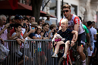 Roger Kluge (DEU/Lotto Soudal) and daughter on the way to the pre stage sign on. <br /> <br /> <br /> Stage 16: Nimes to Nimes (177km)<br /> 106th Tour de France 2019 (2.UWT)<br /> <br /> ©kramon