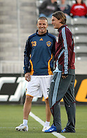 Los Angeles Galaxy midfielder (23) David Beckham and Colorado Rapids defender Kally Gray prior to an MLS regular season match against the Colorado Rapids at Dicks Sporting Goods Park in Commerce City, Colorado on March 29, 2008. The Rapids defeated the Galaxy 4-0.