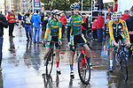 South African team at sign on for the start of the Women Elite Road Race of the UCI World Championships 2019 running 149.4km from Bradford to Harrogate, England. 28th September 2019.<br /> Picture: Eoin Clarke | Cyclefile<br /> <br /> All photos usage must carry mandatory copyright credit (© Cyclefile | Eoin Clarke)
