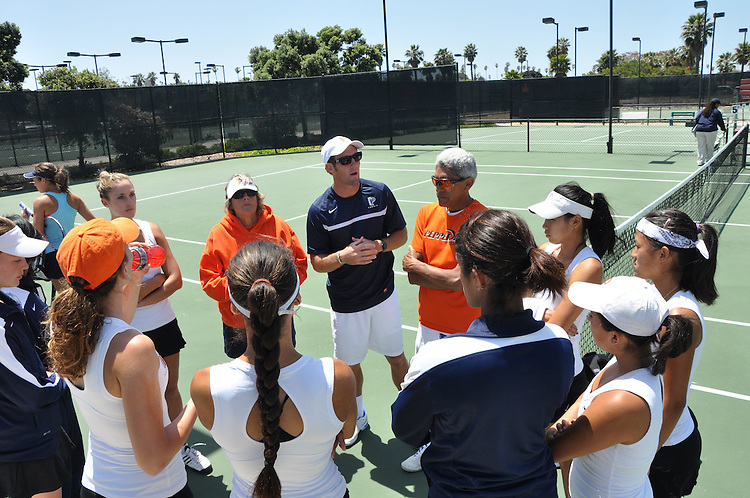 April 28, 2012; San Diego, CA, USA; Pepperdine Waves women's tennis team during the WCC Tennis Championships at the Barnes Tennis Center.