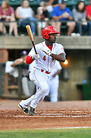 Greenville Reds Ivan Johnson (4) swings at a pitch during a game against the Elizabethton Twins at Pioneer Park on June 29, 2019 in Greeneville, Tennessee. The Twins defeated the Reds 8-1. (Tony Farlow/Four Seam Images)