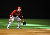 May 9, 2010; Phoenix, AZ, USA; Arizona Diamondbacks shortstop Stephen Drew against the Milwaukee Brewers at Chase Field. Players are wearing pink arm bands and using pink bats in honor of breast cancer awareness and Mothers Day. The Brewers defeated the Diamondbacks 6-1. Mandatory Credit: Mark J. Rebilas-