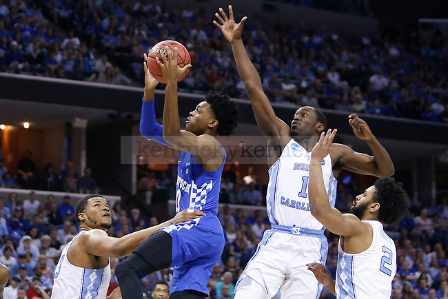 Kentucky Wildcats guard De'Aaron Fox puts up a layup against the North Carolina Tar Heels during the 2017 NCAA Men's Basketball Tournament South Regional Elite 8 at FedExForum in Memphis, TN on Friday March 24, 2017. Photo by Michael Reaves | Staff