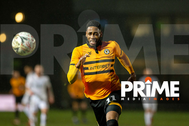 Jamille Matt of Newport County during the FA Cup 4th round replay match between Newport County and Middlesbrough at Rodney Parade, Newport, Wales on 5 February 2019. Photo by Mark  Hawkins / PRiME Media Images.