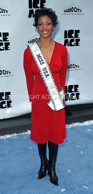 "Miss USA SHAUNTAY HINTON attends the world premiere of ""Ice Age"" at the Radio City Music Hall in New York. March 10, 2002. © 2002 by Alecsey Boldeskul/NY Photo Press.   ..*PAY-PER-USE*      ....NY Photo Press:  ..phone (646) 267-6913;   ..e-mail: info@nyphotopress.com"