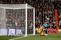 26th February 2020; Estadio Santiago Bernabeu, Madrid, Spain; UEFA Champions League Football, Real Madrid versus Manchester City; Gaolkeeper Courtois of Real madrid is beaten by the penalty kick from Kevin De Bruyne (Manchester City)   to make it 1-2 in the 83rd minute