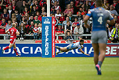 June 4th 2017, AJ Bell Stadium, Salford, Greater Manchester, England;  Rugby Super League Salford Red Devils versus Wakefield Trinity; Mason Coton-Brown of Wakefield Trinity  scores the first try after 8 minutes