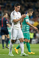 Real Madrid´s James Rodriguez celebrates a goal with Chicharito during Spanish King Cup match between Real Madrid and Cornella at Santiago Bernabeu stadium in Madrid, Spain.December 2, 2014. (NortePhoto/ALTERPHOTOS/Victor Blanco)