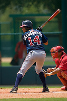 Fernando De Los Santos #14 of the GCL Braves at bat versus the GCL Phillies at Disney's Wide World of Sports Complex, July 13, 2009, in Orlando, Florida.  (Photo by Brian Westerholt / Four Seam Images)