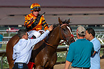 DEL MAR, CA  AUGUST 4: #11 Cambodia, ridden by Drayden Van Dyke, return to the connections after winning the Yellow Ribbon Handicap (Grade ll) on August 4, 2018 at Del Mar Thoroughbred Club in Del Mar, CA.(Photo by Casey Phillips/Eclipse Sportswire/ Getty Images)