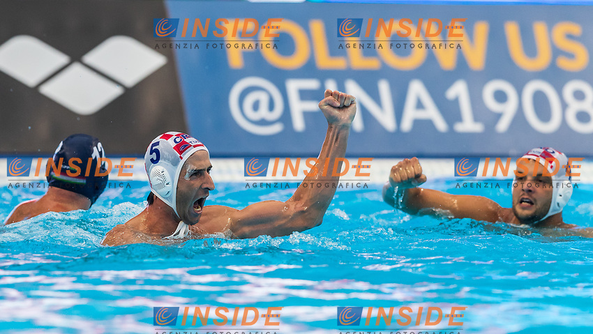 27-07-2019: WK waterpolo: Croatia v Hungary: Gwangju<br /> #5 JOKOVIC Maro (CRO) and #4 LONCAR Luka (CRO)<br /> Gwangju South Korea 27/07/2019<br /> Waterpolo M47 CRO - HUN<br /> 18th FINA World Aquatics Championships<br /> Nambu University Grounds <br /> Orange Pictures / Deepbluemedia / Insidefoto