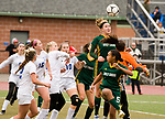 MIDDLETOWN, CT-111817JS23- Holy Cross' Kiley Harnish (9) tries to get to the ball before Old Lyme keeper Emily RIvera (1), on corner kick during their Class S state final game Saturday at Middletown High School.<br /> Jim Shannon Republican-American