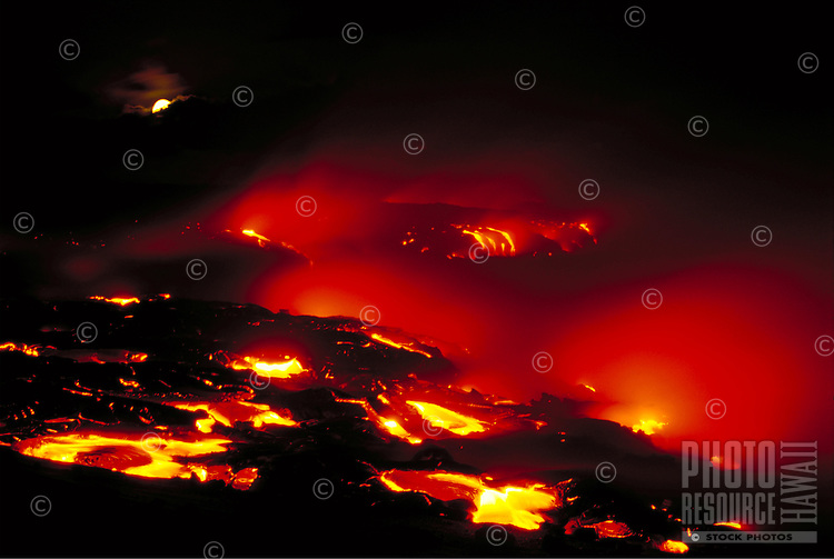Lava flow at Kamoamoa with moonrise, Big Island