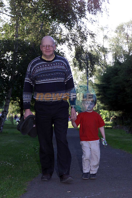 Rory and Brendan Kerr out for a strool along Riverside Walk.Picture Fran Caffrey Newsfile