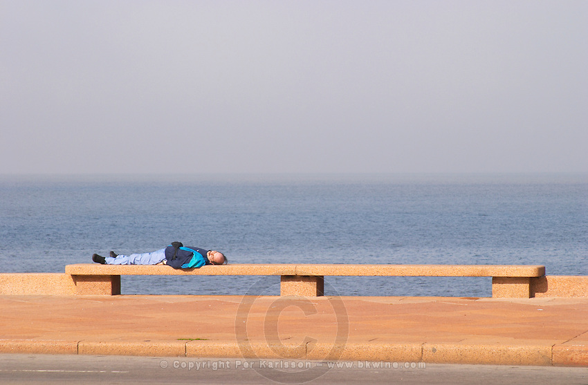 A man lying on a bench sleeping, on the riverside seaside walk along the river Rio de la Plata Ramblas Sur, Gran Bretagna and Republica Argentina Montevideo, Uruguay, South America