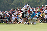 Soren Hansen examining his putt the 7th green during the saturday afternoon fourball at The 37th Ryder cup from Valhalla Golf Club in Louisville, Kentucky....Photo: Fran Caffrey/www.golffile.ie.