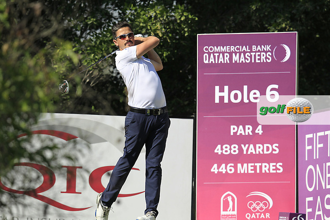 Mike Lorenzo-Vera (FRA) tees off the 6th tee during Thursday's Round 2 of the 2015 Commercial Bank Qatar Masters held at Doha Golf Club, Doha, Qatar.: Picture Eoin Clarke, www.golffile.ie: 1/22/2015