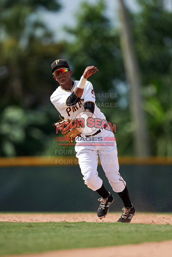 GCL Pirates shortstop Adrian Valerio (57) throws to first during the first game of a doubleheader against the GCL Yankees 2 on July 31, 2015 at the Pirate City in Bradenton, Florida.  GCL Pirates defeated the GCL Yankees 2 2-1.  (Mike Janes/Four Seam Images)