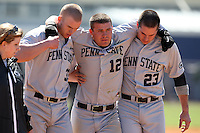 February 28, 2010:  Outfielder Ryan Clark (12) of the Penn State Nittany Lions is helped off the field by Ben Heath (33) and Michael Glantz (23) during the Big East/Big 10 Challenge at Raymond Naimoli Complex in St. Petersburg, FL.  Photo By Mike Janes/Four Seam Images