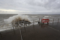 2014 02 03 Waves hit Swansea seafront, south Wales UK
