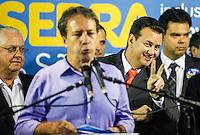 ATENCAO EDITOR IMAGEM EMBARGADA PARA VEICULOS INTERNACIONAIS -  SAO PAULO, SP, 16 OUTUBRO 2012 - O prefeito de Sao Paulo Gilberto Kassab durante encontro com prefeitos eleitos do PSDB no Edificio Joelma na região central da capital paulista, nesta terça-feira, 16. A presensa do candidato a prefeitura Jose Serra era esperada o que não aconteceu. (FOTO:   WILLIAM VOLCOV / BRAZIL PHOTO PRESS).