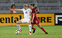 Orlando City, FL - Wednesday March 07, 2018: Ellen White, Mallory Pugh during a 2018 SheBelieves Cup match between the women's national teams of the United States (USA) and England (ENG) at Orlando City Stadium.