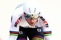 Picture by Alex Whitehead/SWpix.com - 10/12/2017 - Cycling - UCI Track Cycling World Cup Santiago - Velódromo de Peñalolén, Santiago, Chile - Russia's Denis Dmitriev in action during the Men's Sprint qualifying.